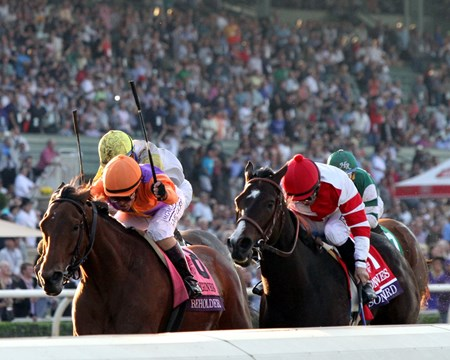 Beholder (#8) with Gary Stevens beat Songbird (#1) with Mike Smith to win the Breeders' Cup Distaff at Santa Anita on November 4, 2016.