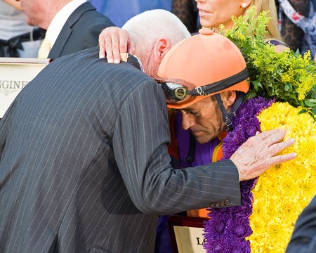 Hughes and Stevens in wc after race Beholder, with Gary Stevens up, wins the Longines Distaff (gr. I) at Santa Anita on Nov. 4, 2016, in Arcadia, California.