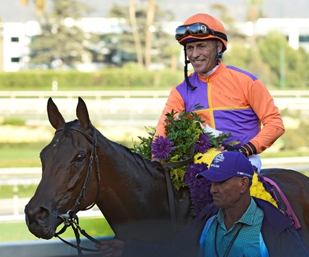 Gary Stevens sits atop Beholder after winning the win in the Breeders' Cup Distaff at Santa Anita Nov. 4, 2016 in Arcadia, California.