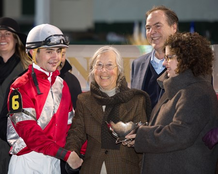 Caption: l-r, Hernandez, Janis Whitham, Clay Whitham, unknown presenter Linda with Brian Hernandez Jr. wins the Mrs. Revere (gr. II) for Whitham Thoroughbreds and Ian Wilkes on Nov. 25, 2016, at Churchill Downs.