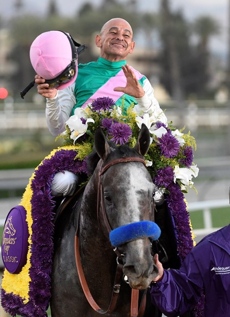 Jockey Mike Smith celebrates on Arrogate after the victory in the Breeders' Cup Classic at Santa Anita Park Nov. 5, 2016 in Arcadia, California.