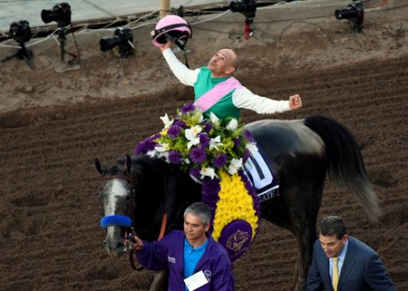 Jockey Mike Smith reacts after winning the Breeders Cup Classic at Santa Anita, Saturday, November 5, 2016.