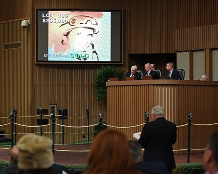 Keeneland sport art auction at Keeneland in Lexington, Ky., on Nov. 21, 2016, in Lexington, Ky. Lot 105 Andy Warhol of Willie Shoemaker, 1978, hammers at $385,000