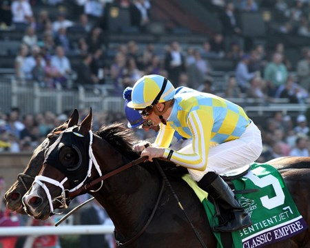 Classic Empire with Julien Leparoux win the Breeders' Cup Juvenile (GI) at Santa Anita on November 5, 2016.