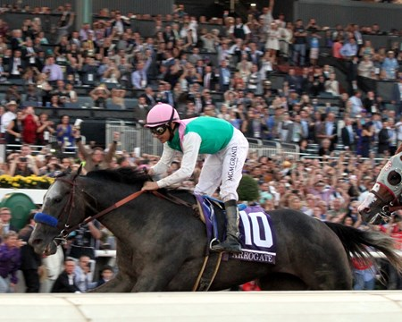 Arrogate with Mike Smith win the Breeders' Cup Classic at Santa Anita on November 5, 2016.
