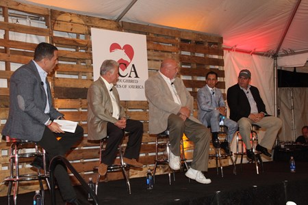 The connections of California Chrome help raise money for Thoroughbred Charities of America. From left to right, TVG's Paul Lo Duca, trainer Art Sherman, owner/breeder Perry Martin, jockey Victor Espinsza, and Frank Taylor of Taylor Made Stallions.