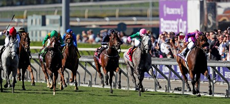 Obviously, Flavien Prat up, wins the Breeders' Cup Turf Sprint