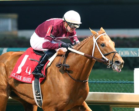 Gun Runner wins the 2016 Clark Handicap