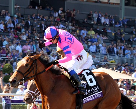 Champagne Room with Mario Gutierrez win the Breeders' Cup Juvenile Fillies (GI) at Santa Anita on November 5, 2016.