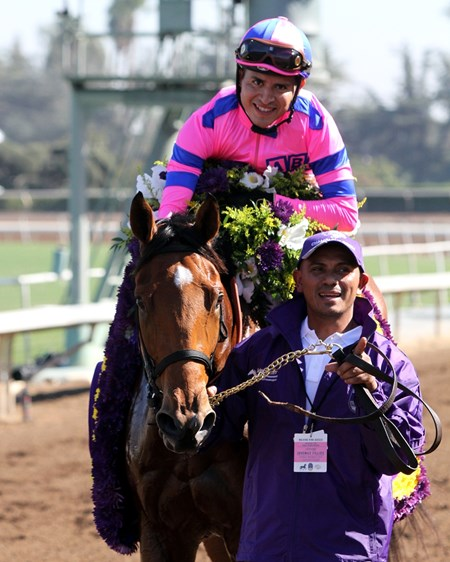 Champagne Room with Mario Gutierrez after the Breeders' Cup Juvenile Fillies (GI) at Santa Anita on November 5, 2016.