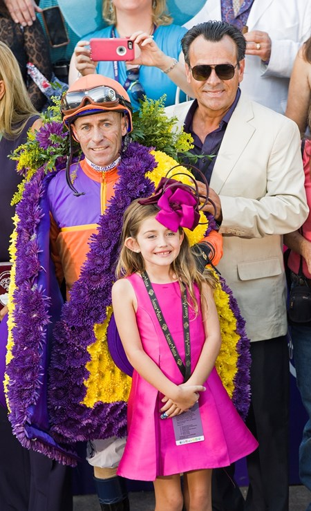 Maddie and Gary Stevens with one of the Felds. Beholder, with Gary Stevens up, wins the Longines Distaff (gr. I) at Santa Anita on Nov. 4, 2016, in Arcadia, California.