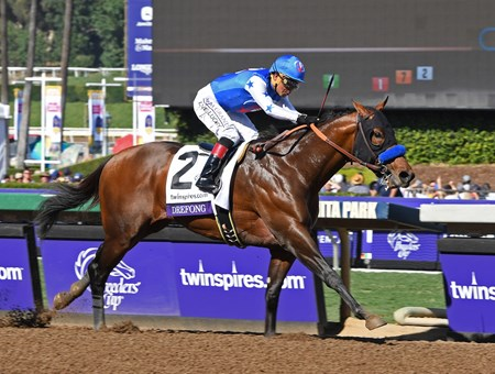 Drefong, with Martin Garcia aboard, wins the Breeders' Cup Sprint (gr. I) at Santa Anita on Nov. 5, 2016, in Arcadia, California.