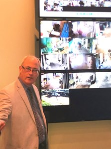 Stronach Group senior vice president of West Coast operations Joe Morris outlines features in Santa Anita Park's state-of-the-art surveillance system.