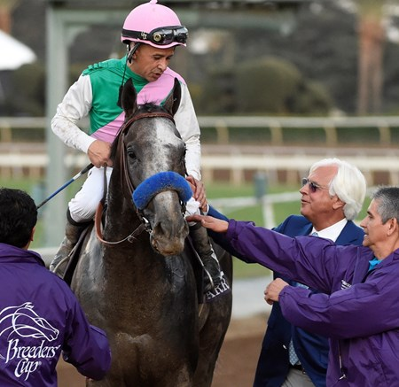 Trainer Bob Baffert congratulates Jockey Mike Smith  on Arrogate after the victory in the Breeders' Cup Classic at Santa Anita Park Nov. 5, 2016 in Arcadia, California.