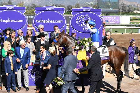 Connections of Drefong celebrate winning the Breeders' Cup Sprint at Santa Anita on Nov. 5, 2016, in Arcadia, California.