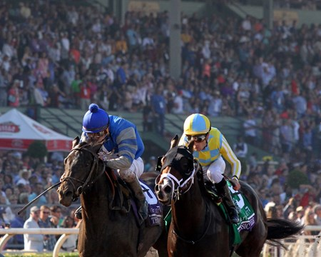 Classic Empire (#5) with Julien Leparoux beat Not This Time (#10) with Robby Albarado to win the Breeders' Cup Juvenile (GI) at Santa Anita Park on November 5, 2016.