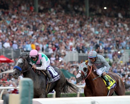 Arrogate (#10) with Mike Smith win the Breeders' Cup Classic (GI) over California Chrome (#4) with Victor Espinoza at Santa Anita on November 5, 2016.