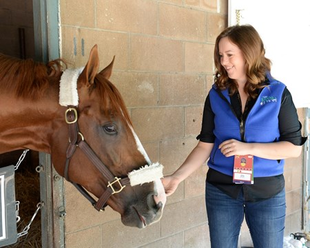 California Chrome with Claire Novak Morning after the Breeders' Cup Classic 2016 Breeders' Cup on Nov. 6, 2016, in Arcadia, CA.