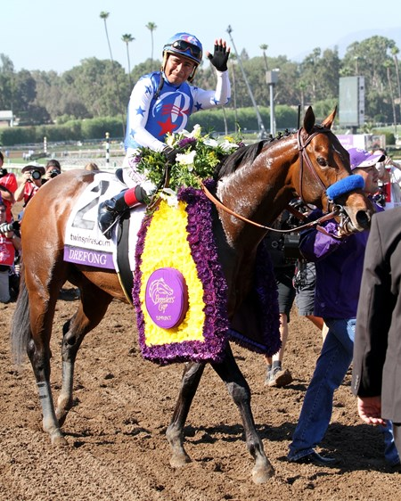 Drefong with Martin Garcia after winning the Breeders' Cup Sprint at Santa Anita on November 5, 2016.