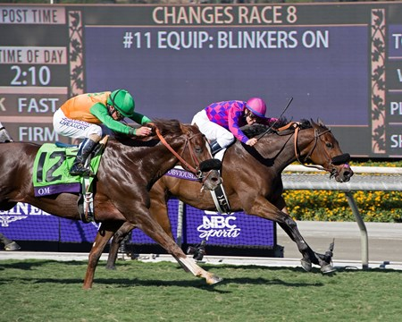 Obviously, with Flavien Prat up, wins the Turf Sprint (gr. I) at Santa Anita on Nov. 5, 2016, in Arcadia, California.