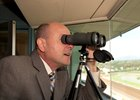 Michael Wrona calling races at Santa Anita Park