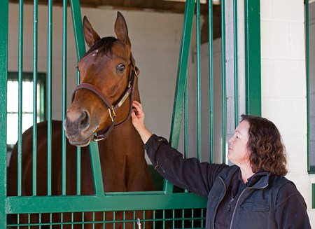 Beholder with broodmare manager Aimee Compton at Spendthrift Farm in Lexington, Ky., on Nov. 21, 2016.