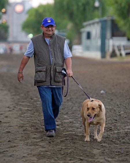 Alan Sherman with Jasper Works at Santa Anita in preparation for 2016 Breeders' Cup on Oct. 31, 2016, in Arcadia, CA.