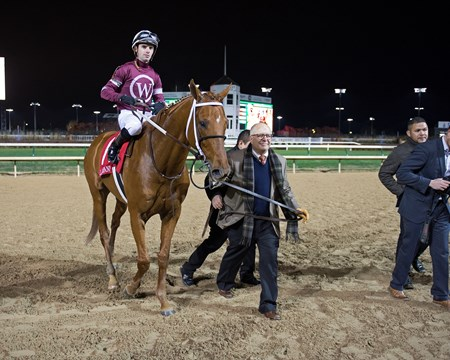 David Fiske with Winchell Thoroughbreds walks Gunner into wc. Gun Runner with Florent Geroux wins Clark Handicap (gr. I) on Nov. 25, 2016, at Churchill Downs.