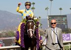 Classic Empire and Julien Leparoux after winning the Sentient Jet Breeders' Cup Juvenile at Santa Anita on 11/5/16.