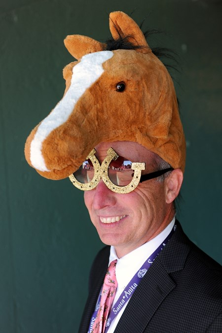 Joe Conforto wears a horse hat at the Breeders Cup at Santa Anita, Saturday, November 5, 2016.