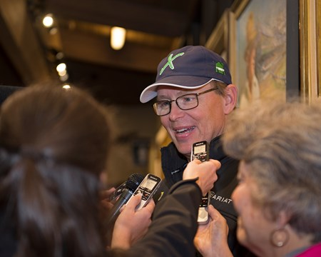 Elliott Walden talks to media