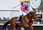 Mario Gutierrez celebrates after winning Breeders' Cup Juvenile Fillies with Champagne Room Nov. 5 at Santa Anita Park.