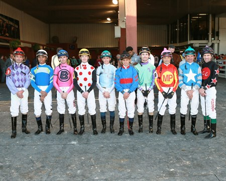 Jockeys assemble before the 2016 Delta Downs Jackpot