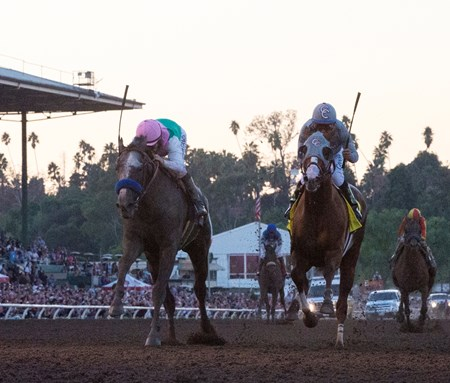 Arrogate passes California Chrome on the way to the victory in the Breeders' Cup Classic at Santa Anita Park Nov. 5, 2016 in Arcadia, California.