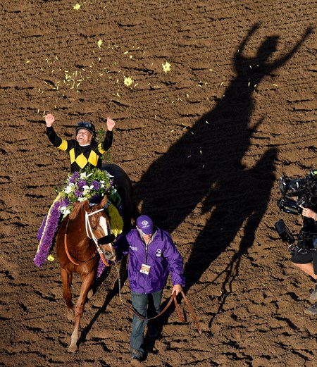 Jockey Mike Smith throws flowers in the air after riding Finest City to a win at the Breeders' Cup Filly & Mare Sprint Grade I at the Breeders Cup at Santa Anita, Saturday, November 5, 2016.