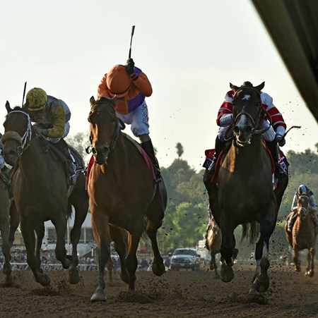 Gary Stevens guides Beholder, left, in a duel to the finish with Mike Smith on Songbird to the win in the Breeders' Cup Distaff at Santa Anita Nov. 4, 2016 in Arcadia, California.
