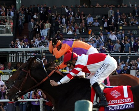 Beholder with Gary Stevens beat Songbird (#1) with Mike Smith to win the Breeders' Cup Distaff (GI) at Santa Anita on November 4, 2016.