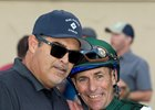 Mick Ruis and Gary Stevens after Defiantly's victory in the Let It Ride Stakes