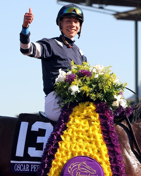 Jose Ortiz after winning the Breeders' Cup Juvenile Turf (GI) at Santa Anita on November 4, 2016 aboard Oscar Performance.