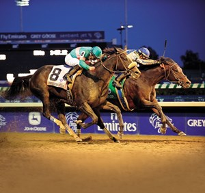 Blame holds off Zenyatta in the 2010 Breeders' Cup Classic, the last time the event was held at Churchill Downs
