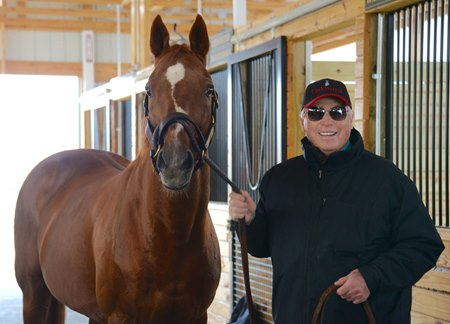 Trainer D. Wayne Lukas visits Charismatic Dec. 4 at Old Friends.