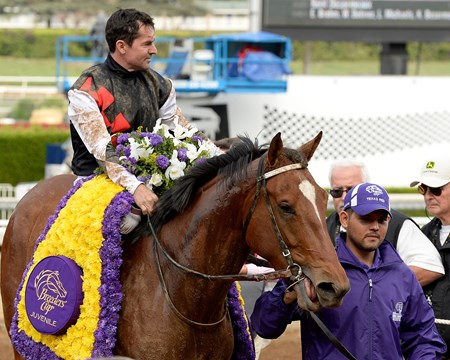 Texas Red with Kent Desormeaux wins the Juvenile. Breeders' Cup at Santa Anita  on Nov. 1, 2014, in Arcadia, California.