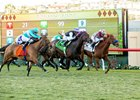 Miss Temple City (center) last eked out a nose victory in the Dec. 4 Matriarch Stakes at Del Mar