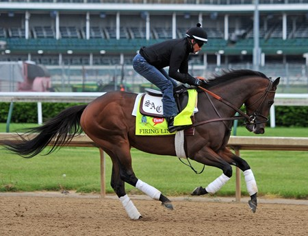 Firing Line works at Churchill Downs in preperation for the 2015 Kentucky Derby.