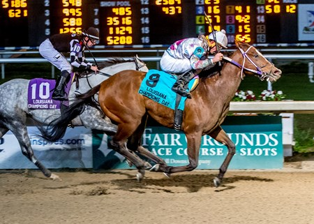 Robby Albarado aboard My Friend Flavin wins the 26 running of the Louisiana Champions day Sprint at Fair Grounds.