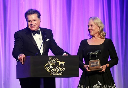 Tepin wins the Eclipse Award for Female Turf Champion with her owner Robert Masterson and wife accepting the trophy during the 46th annual Eclipse Awards, at Gulfstream Park, 2017