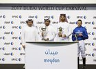 Sh Juma bin Dalmook Al Maktoum, Saeed bin Suroor & Jim Crowley accept the trophy for the Al Rashidiya Empowered By IPIC