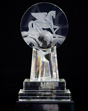 The Pegasus World Cup trophy at Gulfstream Park