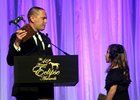 Chad Brown accepts the Eclipse Award for outstanding trainer Jan. 21.