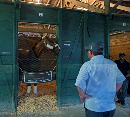 California Chrome in barn  @ Gulfstream Park  Jan 6 2017 with Alan Sherman